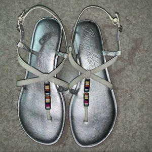 Brighton brand  Oslo patent leather white sandals.